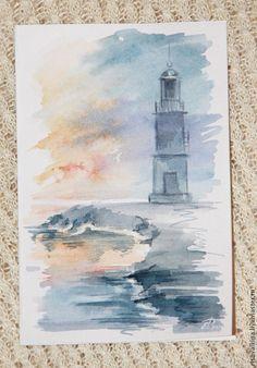 """Купить Открытки акварельные """"Путешествие"""" - бледно-сиреневый, путешествие, маяк, море, акварель, акварельная живопись"""