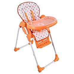 Costzon Adjustable Baby High Chair Infant Toddler Feeding Booster Seat Folding (Orange)