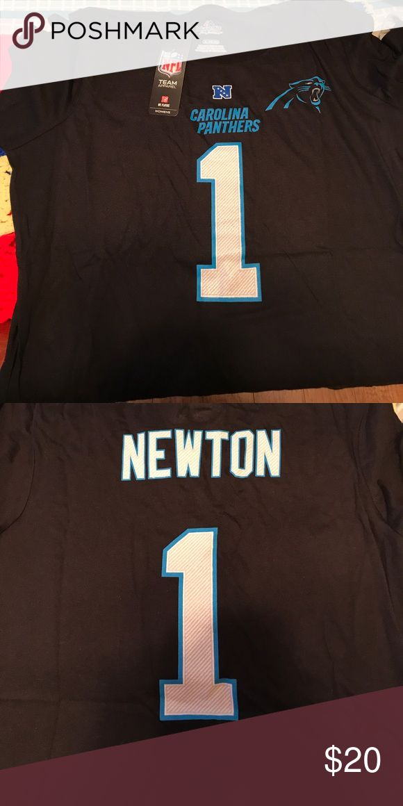 Carolina Panthers Cam Newton t-shirt Short sleeved, majestic Carolina Panthers Cam Newton t-shirt.  New with tags.  Size XL but runs small.  Bought and didn't fit. Majestic Tops Tees - Short Sleeve