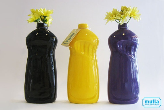 "YES!!  More ""Things that look like things but aren't those things"" that I LOVE!  Dishwash soap ""bottle"" vases!!  $28.00 #etsy #love"
