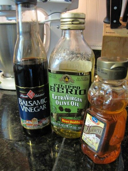 Homemade Salad Dressing -  2 parts olive oil to 1 part honey and balsamic vinegar.