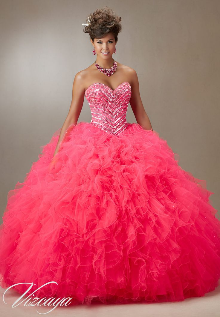 89072 Jeweled Beading on a Ruffled Tulle Quinceanera Dress