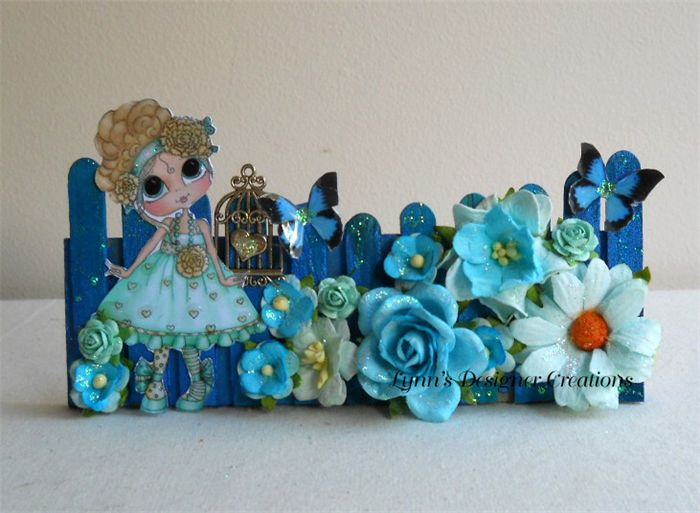Little Girl Picket Fence in Blue and Aqua for Cards, Mini Albums or Frame
