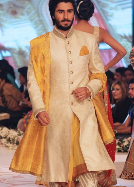Light Golden Self Jamawar Sherwani by PakRobe.com