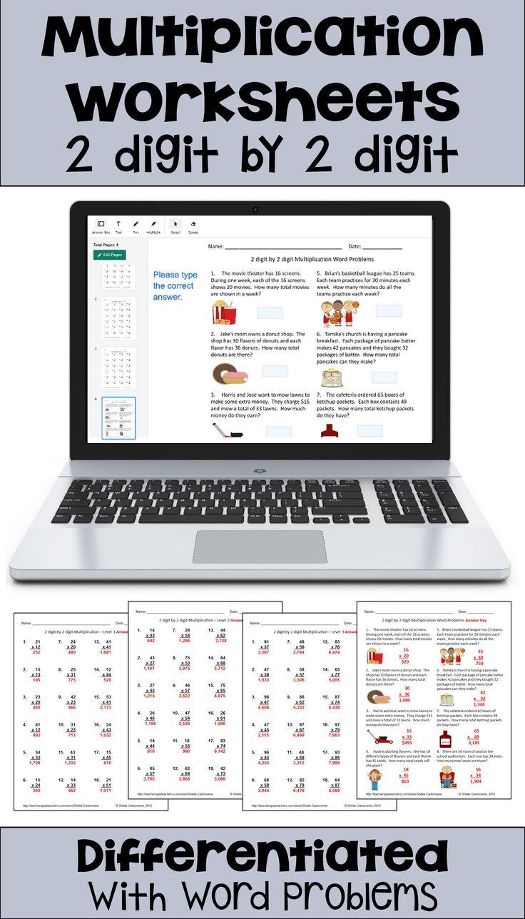 Multiplication Worksheets 2 Digit by 2 Digit with Digital