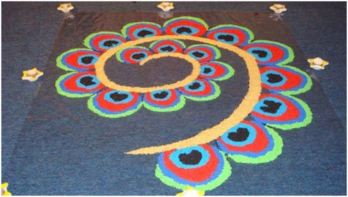 Best Peacock Rangoli Design