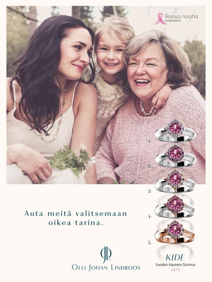 Roosa nauha -kampanjaan 2017 suunnitellut Kide-sormukset.   ojl.fi/