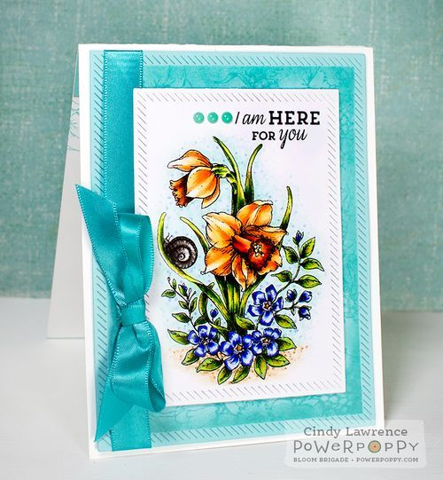 Dancing-With-Daffodils stamp set by Power Poppy, card design by Cindy Lawrence.