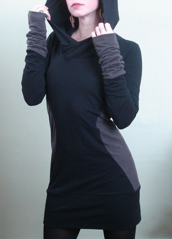 extra+long+sleeved+hooded+tunic+dress+Black/Cement+by+joclothing,+$70.00