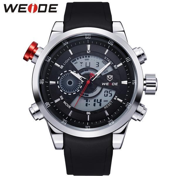 FuzWeb:WEIDE Sports Multifunctional Watches Men Original Japan Quartz LCD Digital Movement Dual Time Zones Display High Quality PU Band