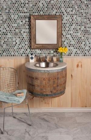 Wine barrel bathroom sink by gayle