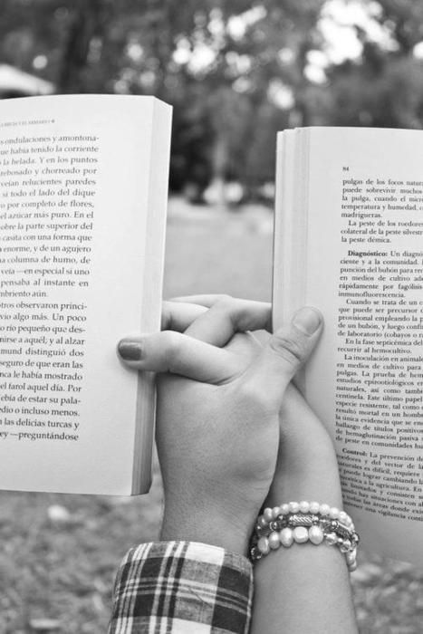 """this picture is for writing tips but it would be a cute engagement picture if you could get the book text to read """"I asked"""" and then hers """"I said yes"""" :) Especially if youre both readers"""