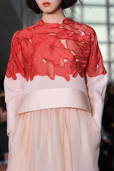 Antonio Berardi Spring 2015 pink and red embroidery cut out appliqué fashion design