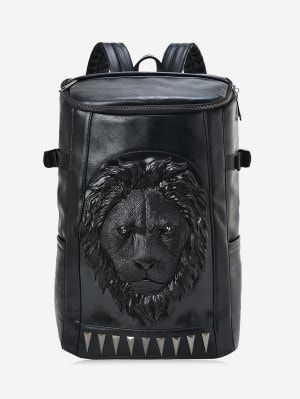 Lion Head Faux Leather Backpack - Black