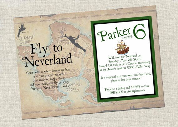17 best images about Pixies Pirates Party Invitations on – Neverland Party Invitations