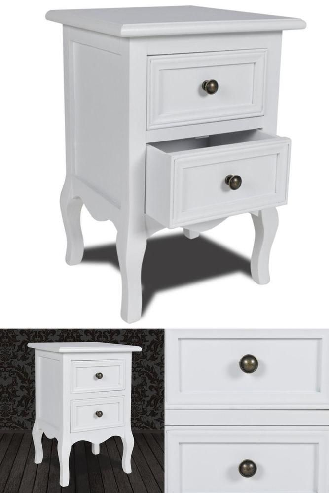 White Wooden Nightstand Bedroom Sofa Side Table 2 Drawer Storage Unit Furniture