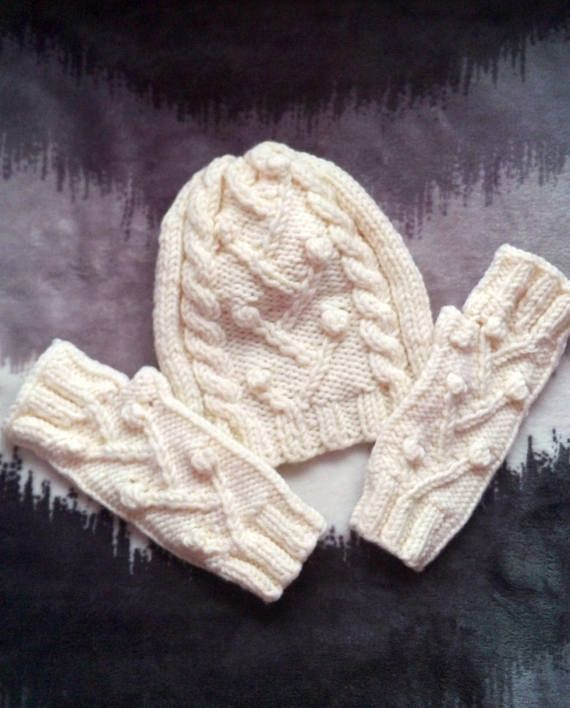Beanie hat with mittens Hat and gloves set Fingerless gloves