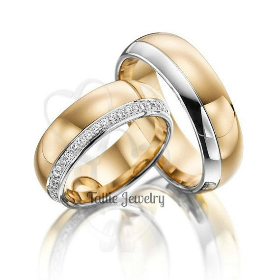 His & Hers Mens Womens Matching 18k Two Tone Gold Wedding Bands Rings Set  7mm/7mm Wide  Sizes 4-12  Free Engraving  New