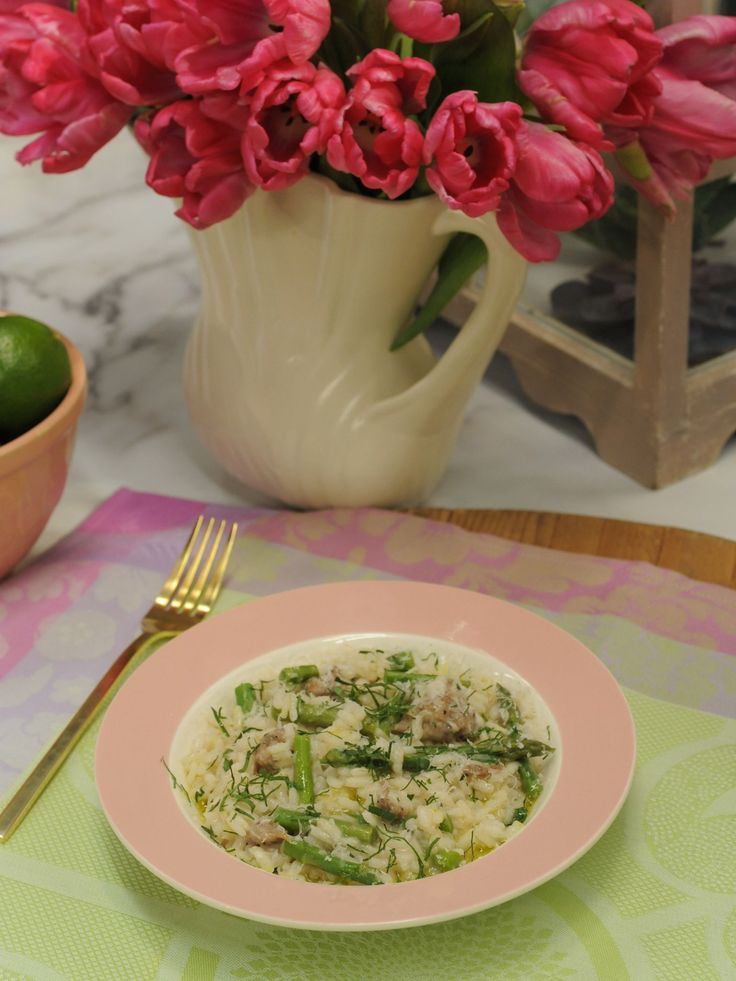 Sausage and Asparagus Risotto recipe from The Kitchen via Food Network