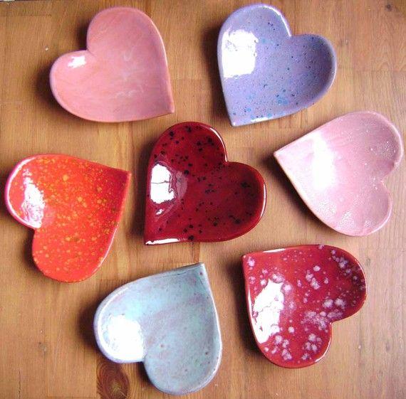 Heart Ceramic Dish, wedding, bridal shower, bowl, jewelry, ring dish, decor, soap dish, candle holder, teabag, spoonrest, Valentine on Etsy, $10.00
