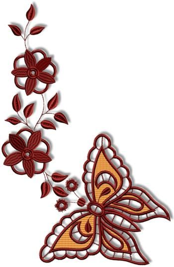 Advanced Embroidery Designs - Cutwork Butterfly and Flower Set