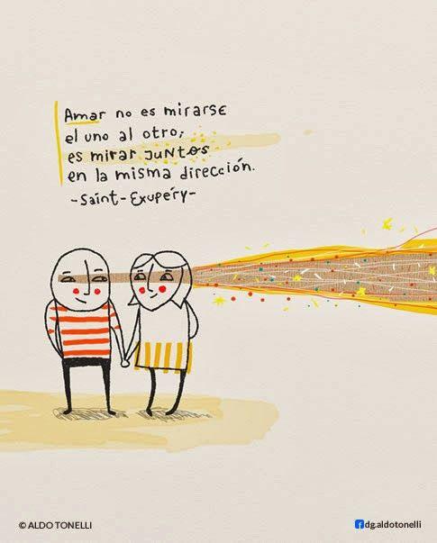 """Aldo Tonelli / Ilustraciones: """"Juntos"""" - Ilustración digital con frase"""