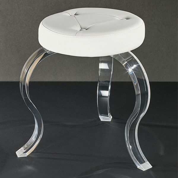 Urban Modern Round Off White Vanity Stool With Acrylic Legs Vanity Stool Modern Vanity Stool