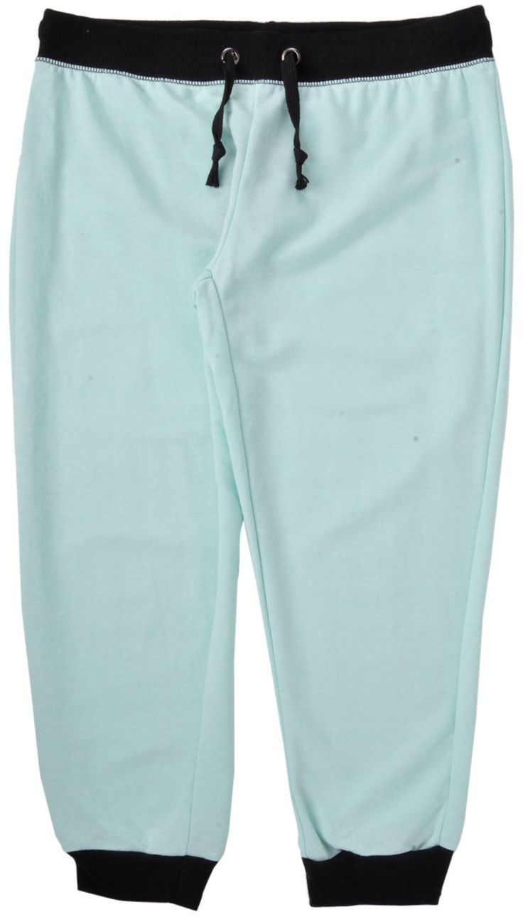 Coco Limon Jogger Capri Sweatpants Mint. Capri Knee Length Pants. Elastic Waistband. Adjustable Drawstring with Metal Eyelets. Elastic Leg Cuff Hems. Material: 55% Cotton, 45% Polyester.