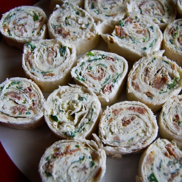 Bacon, Spinach, Chive and Cream Cheese Tortilla Roll-Ups Appetizer Recipe | Just A Pinch Recipes