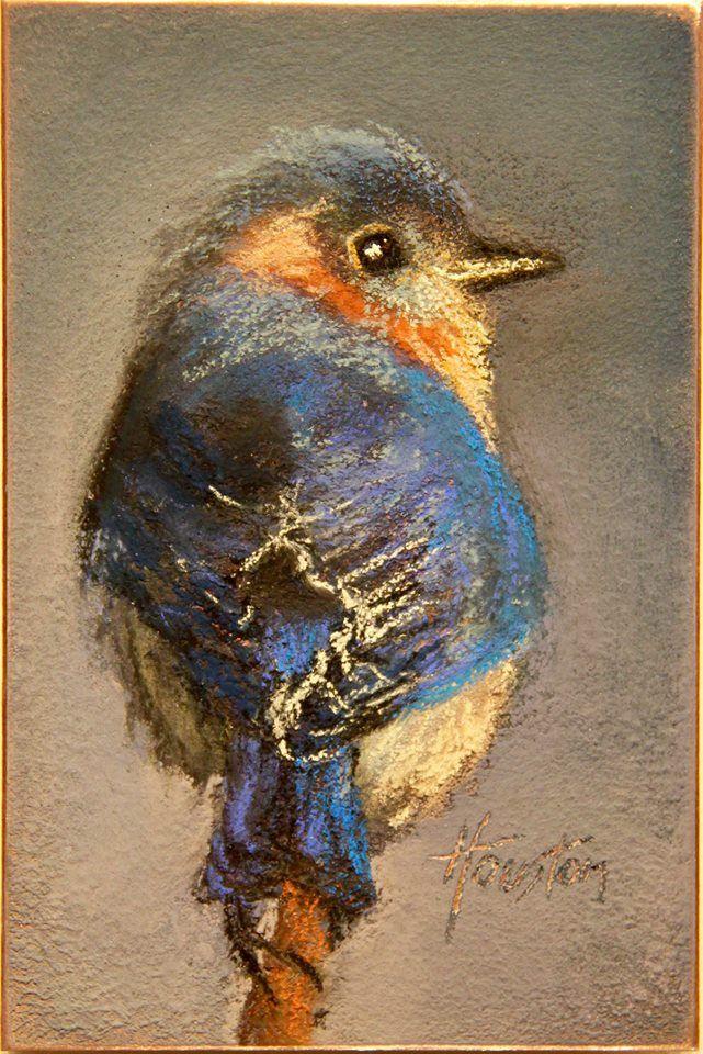 Wise Little Bluebird Pastell Malerei Malerei Und Aquarellmalerei