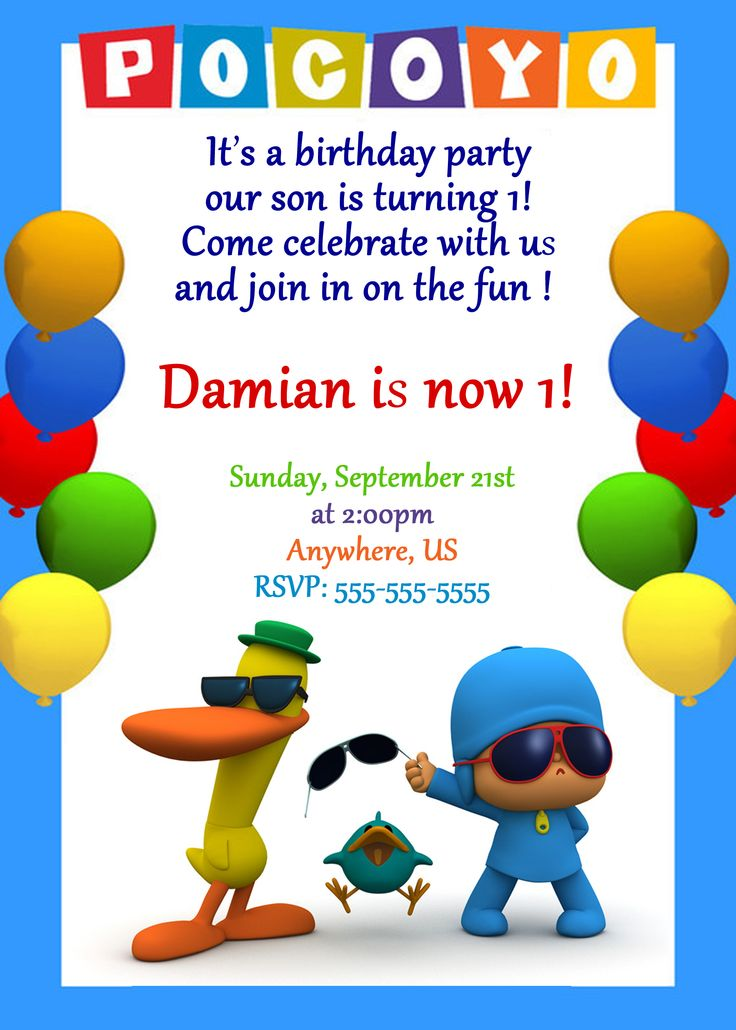 Pocoyo Birthday Party Invitations $8.99