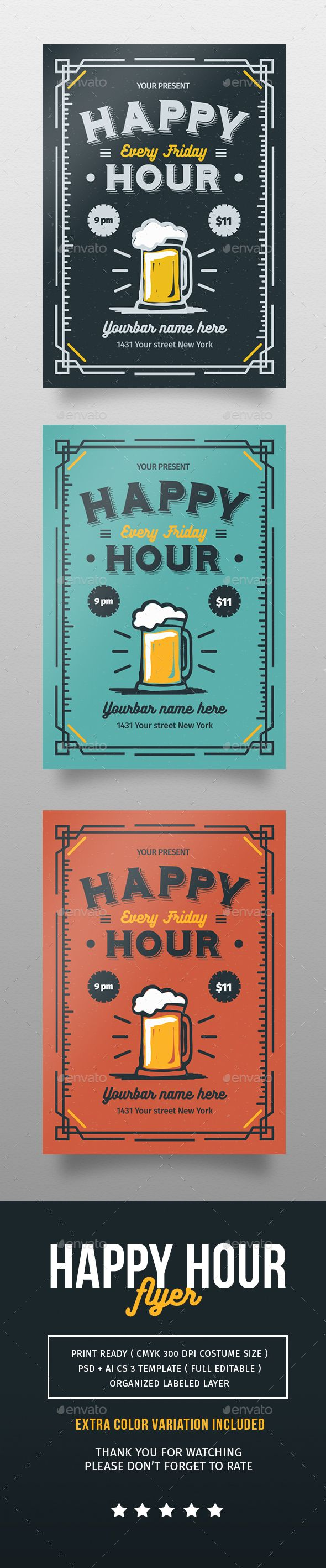 Happy Hour Flyer #PSD #bar #beer #$6 #retro