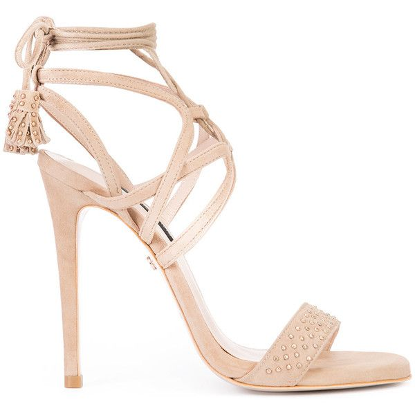 Ruthie Davis Willow sandals ($1,020) ❤ liked on Polyvore featuring shoes, sandals, heels, gold, leather shoes, ruthie davis shoes, ruthie davis, leather footwear and nude shoes