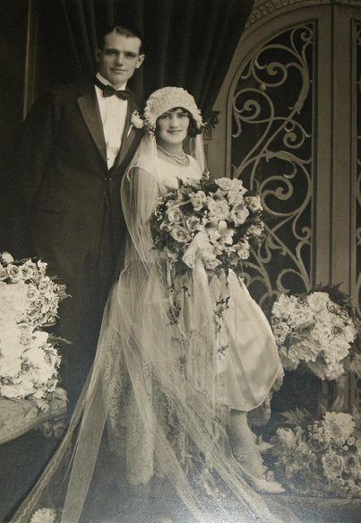Joseph Pavelin and Josephine Rotkvich wedding photo taken 1920's, Arbanas studio 1149 W. 16th St., Chicago