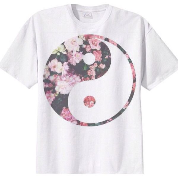 Floral Yin Yang Tee Shirt ($17) ❤ liked on Polyvore featuring tops, t-shirts, shirts, floral top, sleeveless t shirt, floral print t shirt, no sleeve t shirts and sleeveless shirts