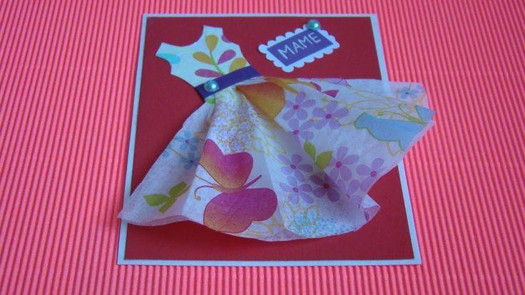 Что подарить маме. Открытка Платье из салфетки. Mother's Day Greeting Card - DIY Napkin dress