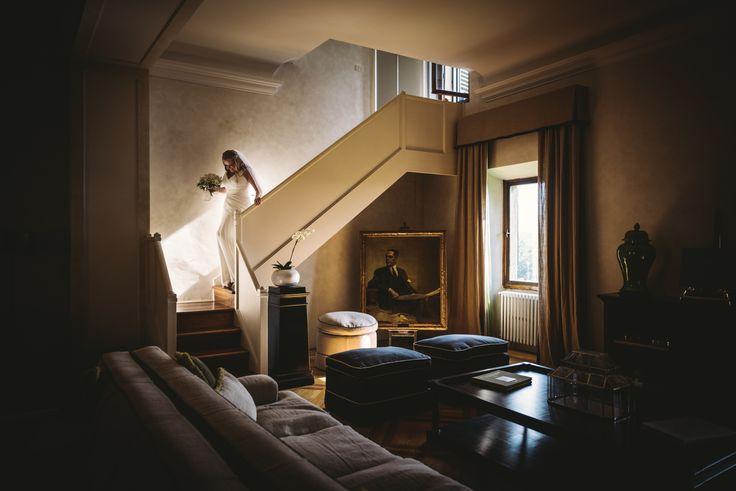 Here comes the bride. Wedding day at Villa Nozzole. Tuscany, Italy