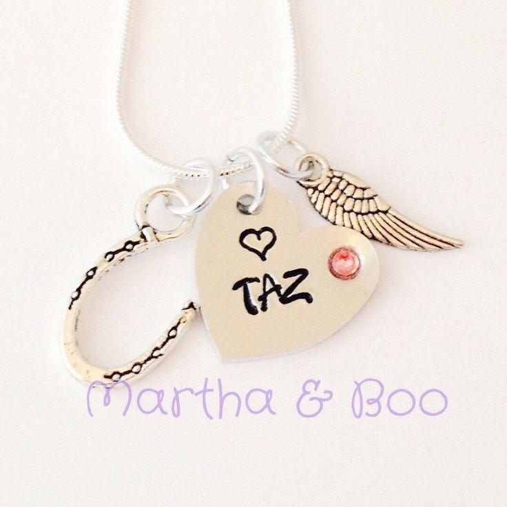 Pet memorial necklace, hand stamped, horse memorial, keepsake jewellery, Swarovski, rainbow bridge, personalised, customised by MarthaAndBoo on Etsy https://www.etsy.com/listing/228376486/pet-memorial-necklace-hand-stamped-horse
