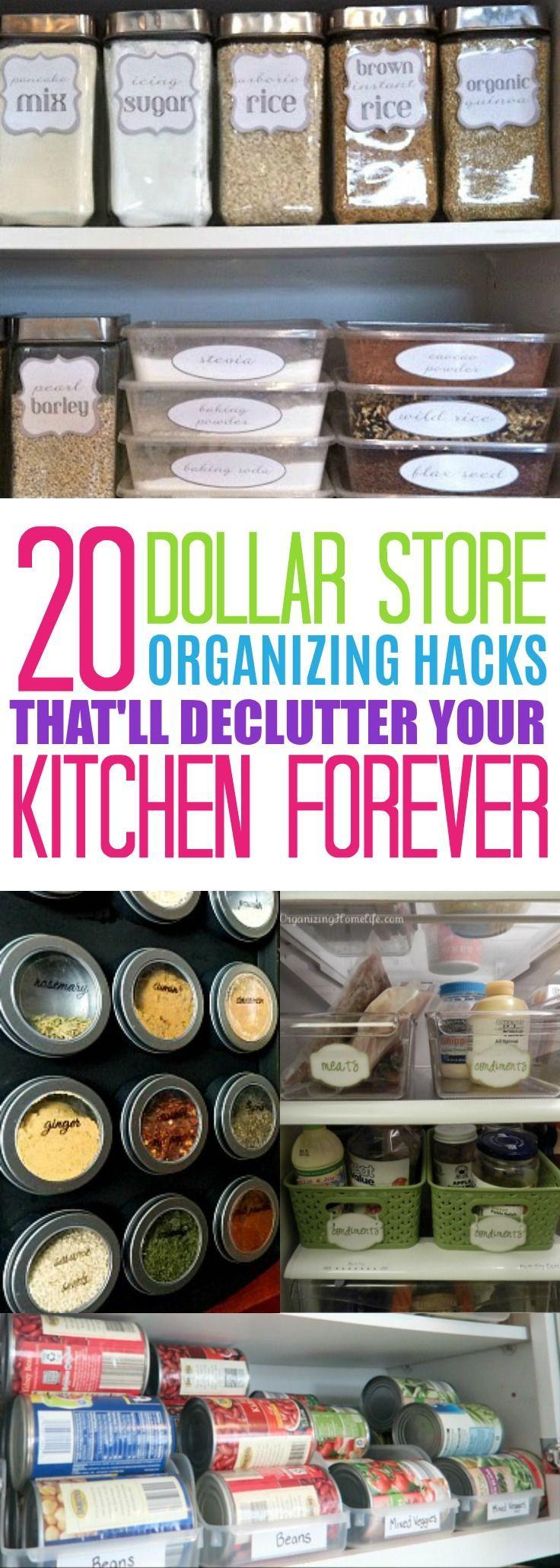 Dollar Store Kitchen Organization Hacks,Dollar Store Kitchen Organizing Ideas, Organizing Tips For The Home