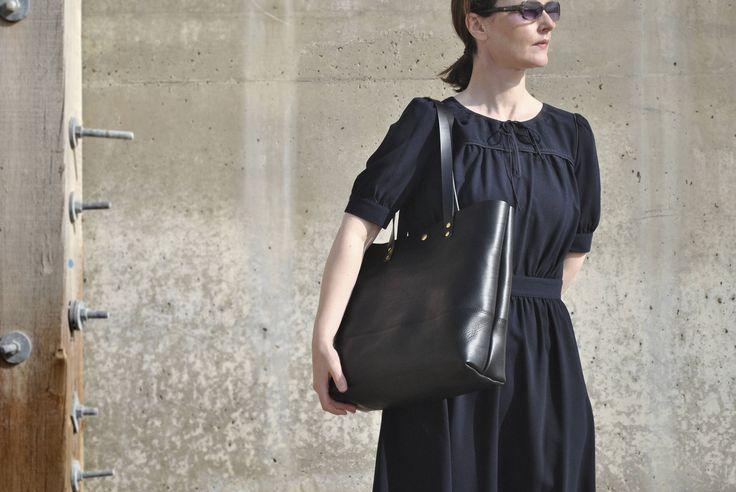 """Italian Leather Shoulder Bag, Black 13""""Laptop Bag, Leather Work Bag, Leather Bag, Leather Tote Bag, Leather Diaper Bag, Italian Leather Tote by NellHarperLeather on Etsy"""