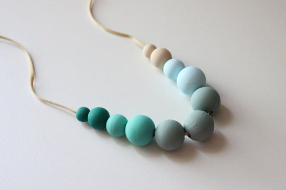 Beadwork Mint Beige Turquoise Pastel Blue and by Francysdesign, $29.00