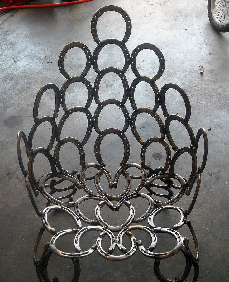 I used 58 used horseshoes to make a patio chair. I used a combination of stick and wire feed welders to complete this project.  Materials and Tools: I used a wire feed welder, a stick welder, a bench grinder, an angle grinder, a chipping hammer, and a wire brush  Contributed by: T. Hurst.  To find and share additional welding project ideas & plans, visit: www.Millerwelds.com/interests/projects/