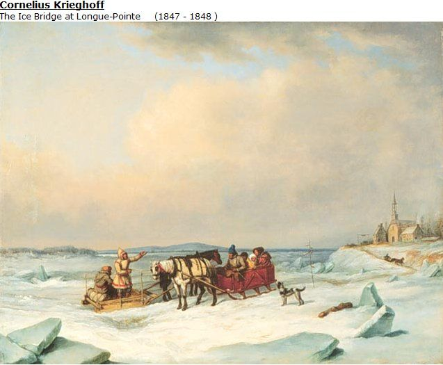 Cornelius Krieghoff painting, The Ice Bridge at Longue-Pointe, 1847 or 1848
