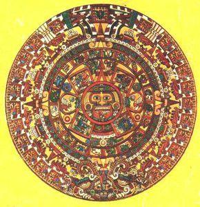 Calendario Azteca, piedra del Sol .Utilizaban un sistema de calendario que habían desarrollado los antiguos mayas. Tenía 365 días, divididos en 18 meses de 20 días, a los que se añadían 5 días 'huecos' que se creía que traían mala suerte.