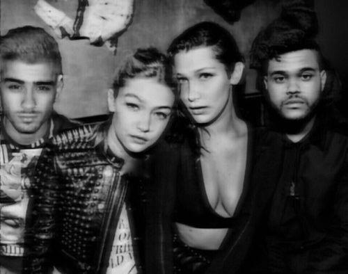 Zayn Malik and Gigi Hadid with Bella Hadid and The Weeknd.