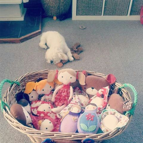 Basket full of goodies for the school fair. Small cute dog not included!