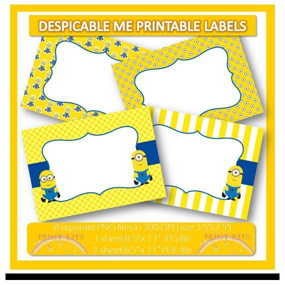Instant Download Minions Despicable Me 2 Printable Labels