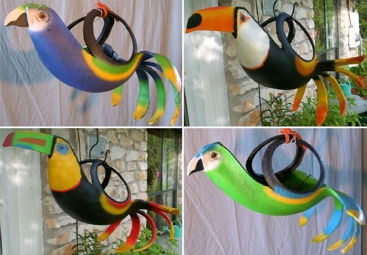 Tired tyres take flight. What do you think of these parrot planters?