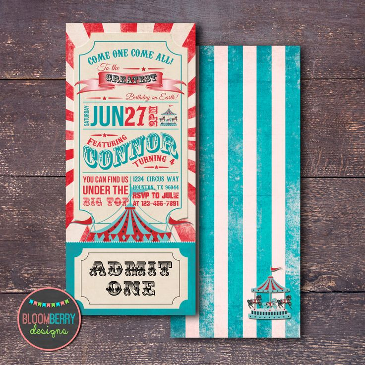 Circus Invitation, Carnival Invitation, Turquoise Circus Invitation, Circus Birthday Party, Circus Ticket Invitation, Teal Circus Party by BloomberryDesigns on Etsy https://www.etsy.com/listing/239469464/circus-invitation-carnival-invitation