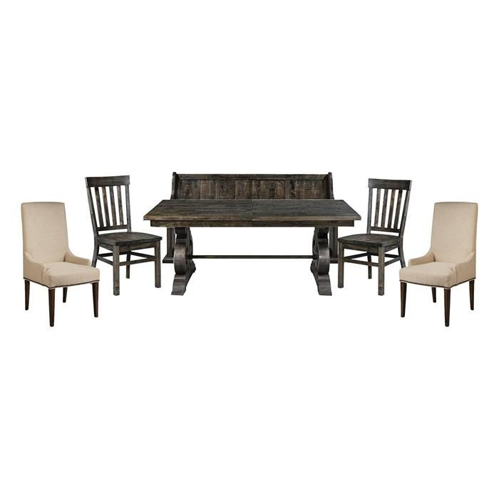 Bellamy 6 Piece Dining Set In Deep Weathered Pine